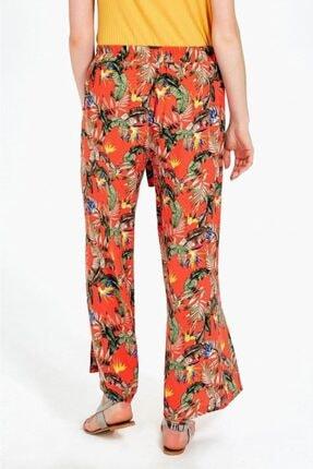 İkiler Kadın Turuncu Beli Lastikli Desenli Pantolon 019-03-3526 4