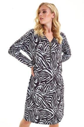 İkiler Yakası Metal Fermuarlı Zebra Desen Elbise 201-2511 3