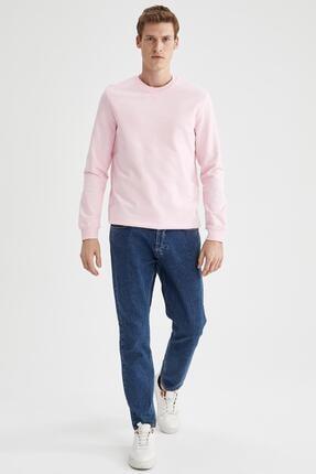 Defacto Erkek Pembe Regular Fit Bisiklet Yaka Basic Sweatshirt 1