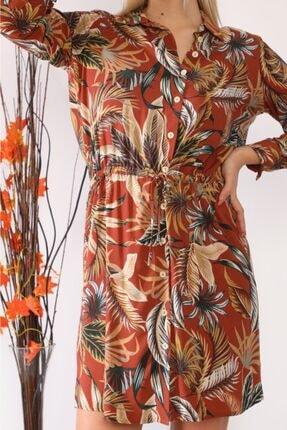 ASSO Kadın Kahverengi Çiçek Desenli Tünelli Elbise 3