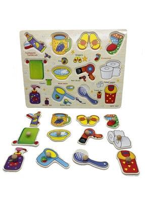 TOYS&TOYS Ahşap Tutmalı Eğitici Banyom Seti Puzzle Okul Öncesi Eğitici Bultak Puzzle 3