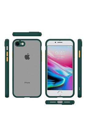 Teknoçeri Iphone 7g / 8g / Se 2020 Kenarları Renkli Kamera Korumalı Transparan Kılıf 4