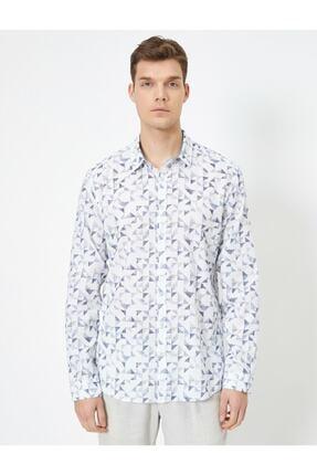 Koton %100 Pamuklu Desenli Klasik Yaka Dar Kesim Uzun Kollu Gömlek 2