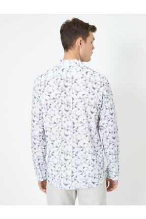 Koton %100 Pamuklu Desenli Klasik Yaka Dar Kesim Uzun Kollu Gömlek 3