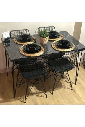 CAN CONCEPT Mermer Görünümlü Masa Sandalye Takımı 4 Adet Tel Sandalye Masa Takımı 0