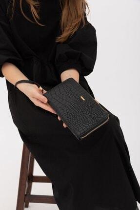 Shule Bags Kadın Cüzdan 1018 Siyah Croc 1