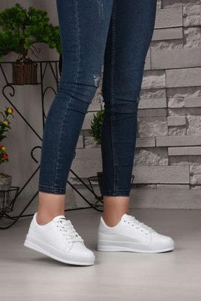 Weynes Kadın Beyaz Bağcıklı Deri Spor Ayakkabı Ba18018 2
