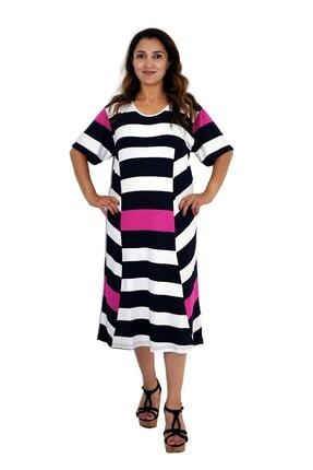 Dükkan Moda Kadın Büyük Beden Elbise Lacivert Beyaz Çizgili 0