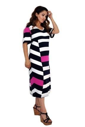 Dükkan Moda Kadın Büyük Beden Elbise Lacivert Beyaz Çizgili 2