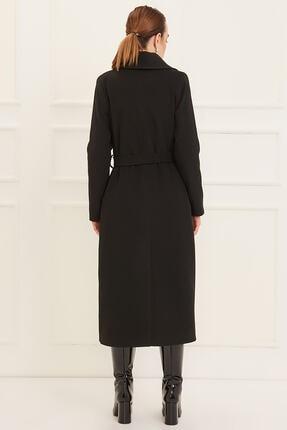 Pitti Kadın Siyah Erkek Yaka Uzun Kuşaklı Kaban 70426. 2