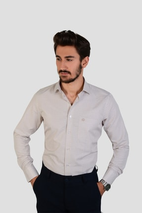 DOTTMEN GÖMLEK Kareli Krem İtalyan Yaka Erkek Gömlek 1