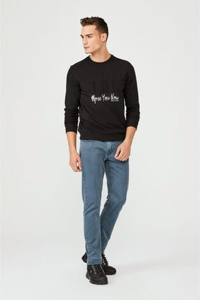 Avva Erkek Siyah Bisiklet Yaka Gofre Baskılı Sweatshirt A02y1083 3