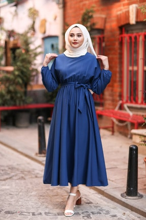 benguen 7069 Tesettür Elbise - Indigo 0