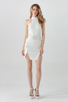 Beyaz Pullu Payetli Düğmeli Yırtmaçlı Mini Etek 10043
