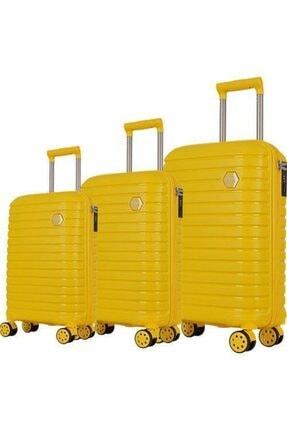 GROUND Polipropilen Kabin Boy Kırılmaz Valiz Sarı 1