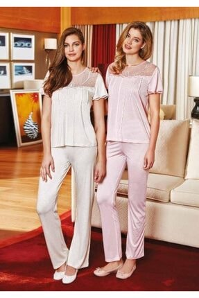 Berrak Kısa Kol Dantel Detaylı Bayan Pijama Takımı 0