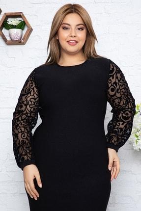 1fazlası Kadın Büyük Beden Türk Motifi Flok Detaylı Elbise 2