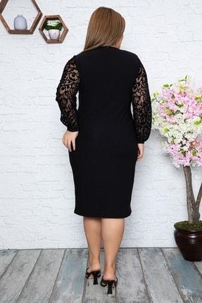 1fazlası Kadın Büyük Beden Türk Motifi Flok Detaylı Elbise 3