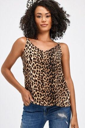Jument Kadın Kahverengi Leopar Queen Empirme İp Askılı Bluz 20083 3