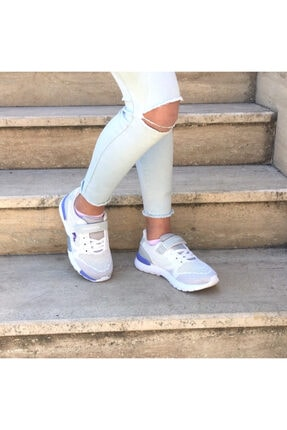 100486325 Vendor J.r Beyaz-lila Hafif Taban Rahat Cırtlı Tekstil Çocuk Sneakers resmi
