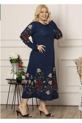 Şirin Butik Kadın Lacivert Yaka Pervazlı Uzun Büyük Beden Elbise 0
