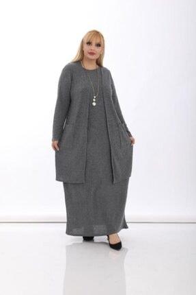 Şirin Butik Kadın Büyük Beden Gri Kaşkorse Yelekli Takım 1