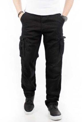 Bilgiçler Erkek Siyah Geniş-bol Kesim Kargo Pantolon 1