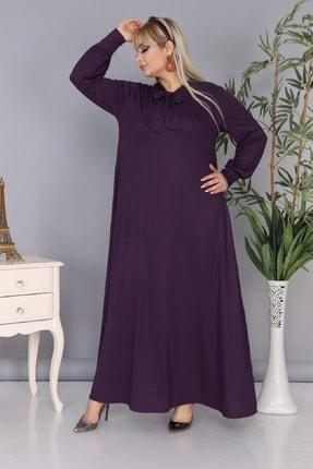 Şirin Butik Kadın Büyük Beden Mürdüm Renk Kravat Yaka Detaylı Viskon Elbise 2