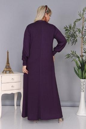 Şirin Butik Kadın Büyük Beden Mürdüm Renk Kravat Yaka Detaylı Viskon Elbise 4