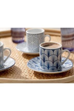 English Home Solita Porselen 12 Parça Kahve Fincan Takımı 80 Ml Mavi 2