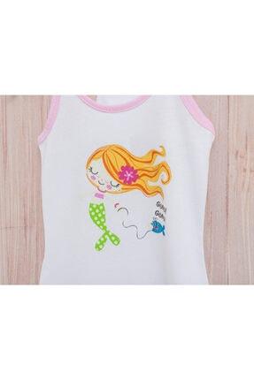 English Home Love Mermaids Pamuklu Kız Çocuk Plaj Elbısesı 4-5 Yaş Beyaz 1