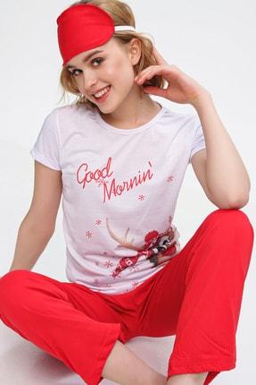 Trend Alaçatı Stili Kadın Beyaz Uyku Bantlı Bisiklet Yaka Geyik Baskılı Kısa Kol Pijama Takım ALC-X5585 0