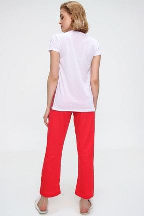Trend Alaçatı Stili Kadın Beyaz Uyku Bantlı Bisiklet Yaka Geyik Baskılı Kısa Kol Pijama Takım ALC-X5585 3
