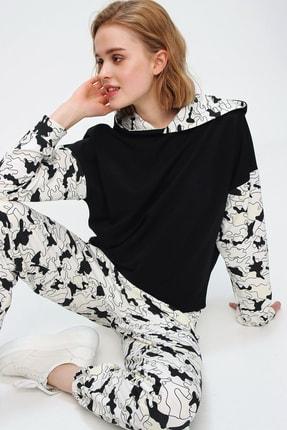 Trend Alaçatı Stili Kadın Siyah Gün Işığında Renk Değiştiren Sihirli Eşofman Takımı ALC-507-520-SP 1