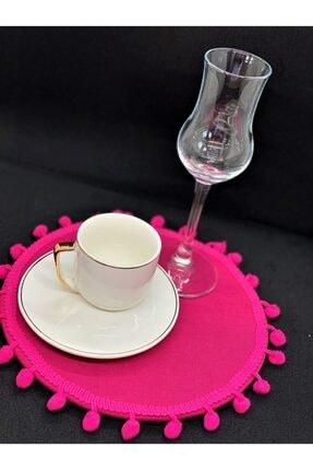 ELS Design Fuşya Ponponlu Kahve Suplası 0