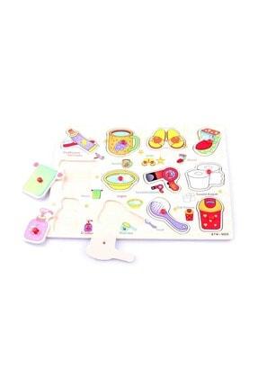 Learning Toys Ahşap Tutmalı Eğitici Yapboz - Banyo Gereçleri 1