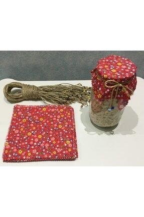 El Emeği 50 Adet Kırmızı Kavanoz Kapağı Kumaşı (Örtüsü) Ve Boncuklu Bağlama Ipi 1