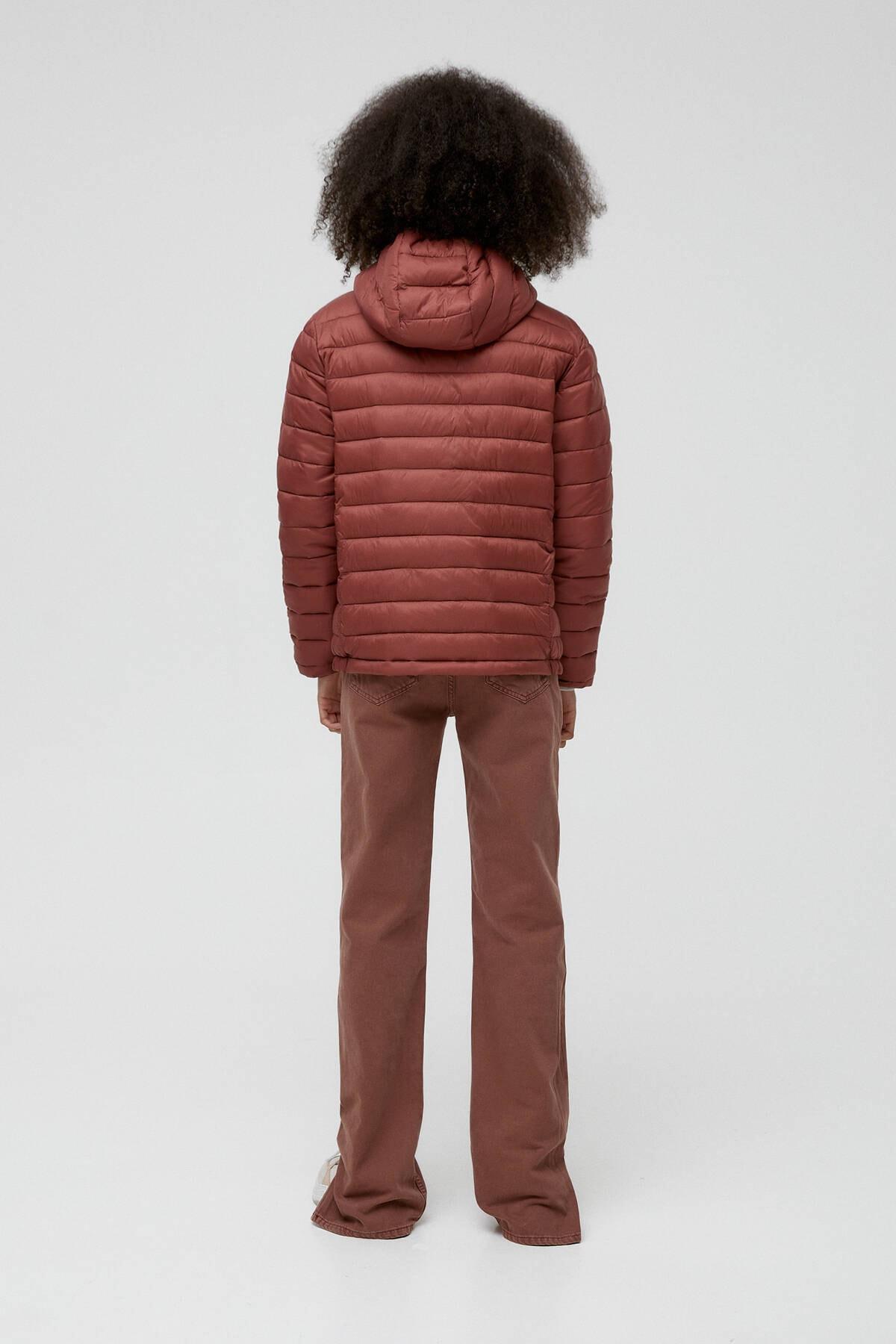 Pull & Bear Kadın Kil Rengi Basic Şişme Mont 09714333 2