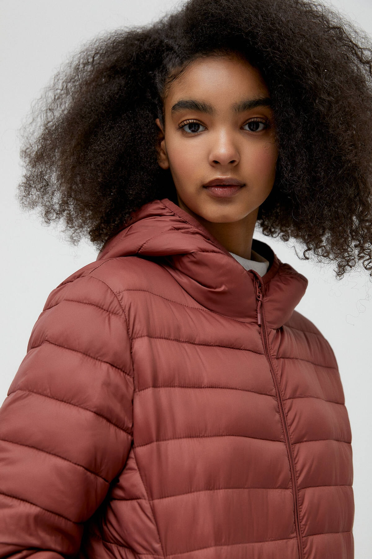 Pull & Bear Kadın Kil Rengi Basic Şişme Mont 09714333 3