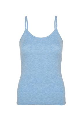 Tolin Kadın Mavi Melanj Pamuklu Likralı İp Askılı Atlet 1223 0