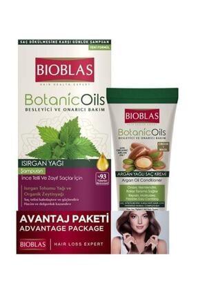 Bioblas Isırgan Yağ Şampuan 360 ml + Argan Yağı Saç Kremi Maske 200 ml 1
