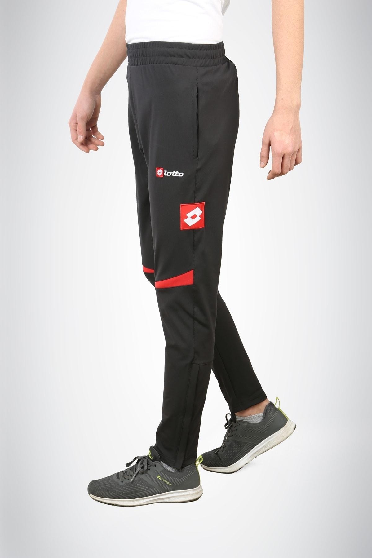 Unisex Siyah Kırmızı Antrenman Spor Eşofman Altı N8162