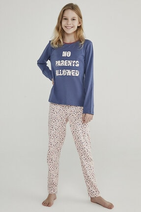 Penti Lacivert - Pembe Teen Leopard 2li Pijama Takımı 1
