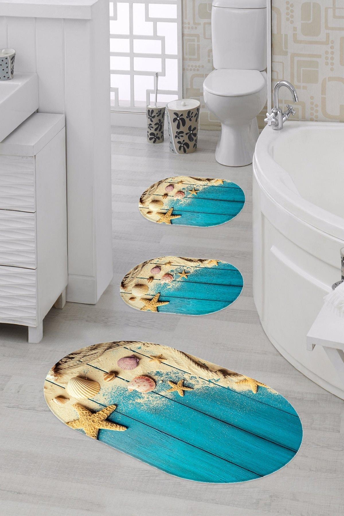 elleser Dijital Baskılı Kaymaz Tabanlı 3'lü Oval Banyo Paspas Seti