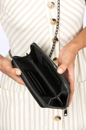 Espardile Kadın Siyah Zincir Askılı Mini Çanta 0449 1