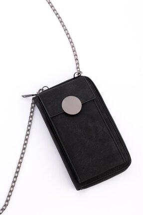 Espardile Kadın Siyah Zincir Askılı Mini Çanta 0449 2