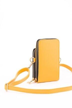 Espardile Kadın Sarı Telefon Bölmeli Omuz Çantası 1