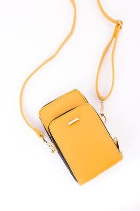 Espardile Kadın Sarı Telefon Bölmeli Omuz Çantası 3