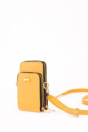 Espardile Kadın Sarı Telefon Bölmeli Omuz Çantası 4