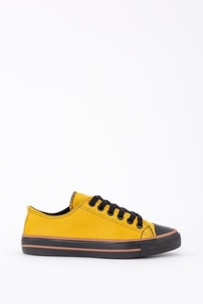 Espardile Kadın Sarı Lüks Süet Spor Ayakkabı 4